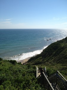 We counted over 130 steps down to the beach at Mohegan Bluffs on Block Island.